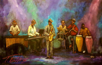 Jazz Magic is a hand embellished  and signed limited edition unframed canvas replica . The size measures 30x40 inches.
