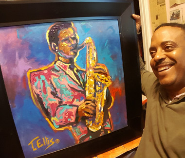 Contempo Jazz- here's one of my hand embellished textured prints and framed $300.00 FREE SHIPPING!!!
