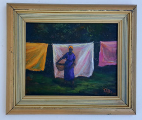A Day at the Clothesline-8x10 T. Ellis framed original painting. $2850.00