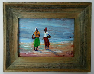 Morning Gossip-5x7 T. Ellis  framed original painting.  $1500.00