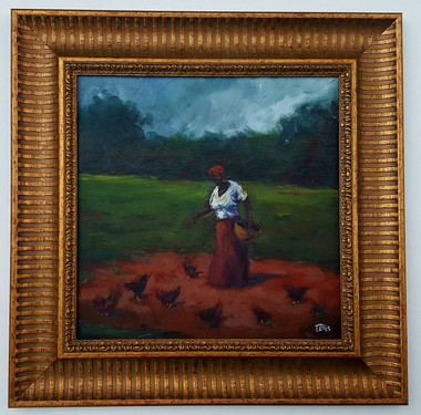 Feeding the Yard of Chickens I-15x15 T. Ellis framed original painting. $3,450.00