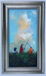 On Our Way to the Fishing Whole- 24x12 T. Ellis framed original painting. $4850.00