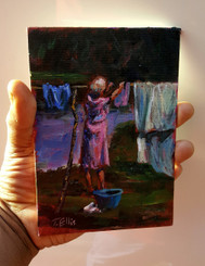 At the Line-7×5 T. Ellis miniature original painting  $1500.00