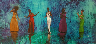 The Singing Divas- 12x24 framed original $4850.00