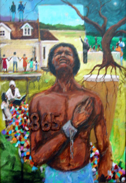 """Free At Last"",17x11, signed and numbered by the artist. T. Ellis official print celebrating the 150th anniversary of Juneteenth. American negro slaves found freedom in the State of Texas in 1865. This limited edition has 1865 collectible hand signed and numbered  prints accompanied with certificate of authenticity."
