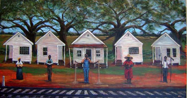 We Own This Land, (18x36), 150 signed copies. On this side of the tracks, you see proud African-Americans who have an abundance of faith and hope, owning and working their own land. Land resources which provides for all their needs. T. Ellis is your source where to buy African-American art that depicts African-American history. You can start you collection of African-American art here. Art that resonates and stirs the emotions. You will find many more African-American art prints to buy from T. Ellis and add to your collection.. http://www.tellisfineart.com/we-own-this-land/