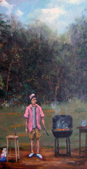 """Backyard BBQ Master"",12x24, T. Ellis framed original painting value $4,750.00 http://www.tellisfineart.com/originals/"