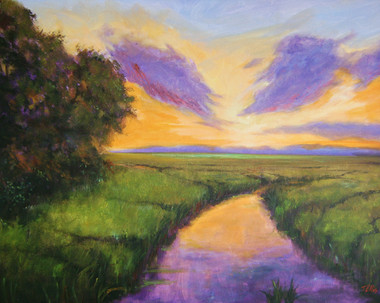 """The Place I Love"", is part of the T. Ellis Landscape Collection. The signed print measures 11x14 on acid free archival paper. These series of  landscapes paintings captures the natural beauty of southern wetlands, fields,marshes and bayous"