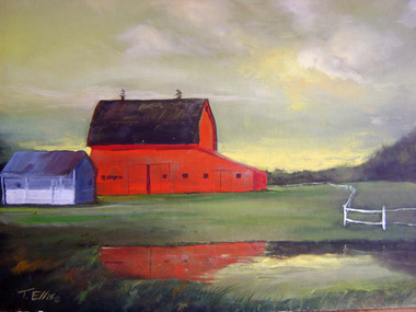 """The Barn"", is part of the T. Ellis Landscape Collection. The signed print measures 11x14 on acid free archival paper. These series of  landscapes paintings captures the natural beauty of southern wetlands, fields, marshes and bayous."