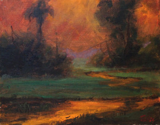 """""""Natures Glow"""", is part of the T. Ellis Landscape Collection. The signed print measures 11x14 on acid free archival paper. These series of  landscapes paintings captures the natural beauty of southern wetlands, fields, marshes and bayous."""