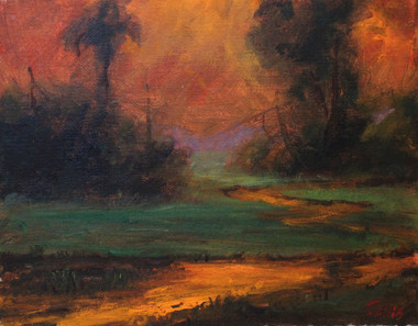 """Natures Glow"", is part of the T. Ellis Landscape Collection. The signed print measures 11x14 on acid free archival paper. These series of  landscapes paintings captures the natural beauty of southern wetlands, fields, marshes and bayous."