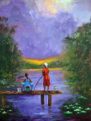 """Fishing Together Again"", 28x22, T. Ellis original painting,completed 2014. T. Ellis has a unique signature style of painting that is all his own. Known as ""Tedism"", A blend of folk and impressionism. An artist recognized for documenting African-American culture and history."