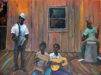 """Makin' that Old Fashion Music"",16x20, T. Ellis original painting,completed 2014. T. Ellis has a unique signature style of painting that is all his own. Known as ""Tedism"", A blend of folk and impressionism. An artist recognized for documenting African-American culture and history."