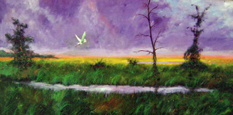 """Paradise in Purple"",24x48, T. Ellis original painting,completed 2014. T. Ellis has a unique signature style of painting that is all his own. Known as ""Tedism"", A blend of folk and impressionism. An artist recognized for documenting African-American culture and history. T. Ellis has created another stunning landscapes that captures the beauty and imaginative creativity of nature.  The mood, the vitality and richness of T. Ellis palette of paint expresses the power and beauty in his southern landscape. His ability to emote through paint is quite impressive."