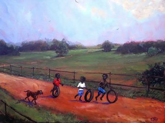 """Just Some Old-fashion Fun"", 18x24 original painting by famous African-American artist, Ted T. Ellis. I just could not resist painting what I did to have so much fun as a kid, rolling tires down the road. We would go out in the neighborhood and find old tires and then race down the road pushing and balancing the tires with our hands. You had to have the technique just right or you would easily lose control. Dem' the good old day"
