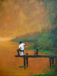 """Fishin' with My Dad"", 20x16, original painting by famous African-American artist, T. Ellis. T. Ellis has captured African-American culture and lifestyle on canvas professionally for the last 25 years. His unique style of ""Tedism"" makes his art extemely recognizable.  He continues to seize those great memories.  This painting was created for Father's Day. Mr. Ellis art is reminescent of Norman Rockwell.  ""#HappyFathersDay to every dad and remember those fathers who made living easy, simple, fun and secure. I had a great dad, he gave me what he had, the most important, which he had in abundance was love. And that was what mattered most."" T.Ellis"