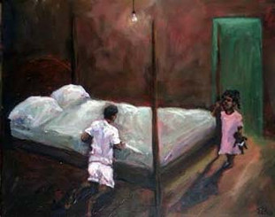 """Watching Daddy Pray"", 16x20 T. Ellis original painting was inspired by a #facebookfriend sharing her personal memories. She explained, ""I have an idea for a painting. It is of one of my fondest memories of my father. My father always slept in a white(wife beater) t-shirt and boxer. Every morning and night he would knee on the side of his bed ( which was four post with the high mattress) and prayed. He did it everyday since I was a child, when I became an adult and until he couldn't get on his knees anymore.""   So I decided to accept her challenge and capture that memory on canvas. She was quite happy when I completed her cherished memory."