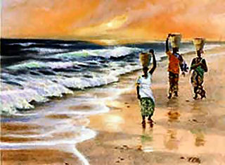 Caribbean Seascape was one of T. Ellis first seascapes paintings capturing the the lifestyle of people living on the islands in the Caribbeans. It was right after his visit to Jamaica while on his honeymoon that he kept a snapshot in his mind and upon returning home he completed this beautiful painting. Each of he prints are signed by the artist and measures 18x24 inches. A beautiful decorative print that will attractively showcase well in your home. Another great image by famous African-American artist, Ted T. Ellis.
