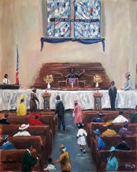 Let Her Preach, 16x20 T. Ellis canvas replica, framed. This is a very special painting with a very special meaning. www.tellisfineart.com