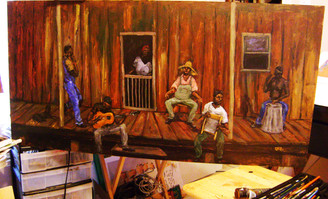 """Early Morning Blues"", 24x48, T. Ellis original painting.   Smellin' that fresh morning country air, listening to our boys play their music from the gut of their souls. Now that's real country blues!!!  Take a moment to enjoy and please share-T. Ellis www.tellisfineart.com"