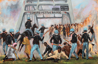 """Bloody Sunday- Selma, 1965"", is the official painting that was unveiled with artist, Ted T. Ellis and Mayor George Evans during the 50th Anniversary celebration of the March from Selma to Montgomery, AL.  Own a piece of history, 1965 hand signed limited edition prints on archival paper by historical artist, Ted T. Ellis. Size 17x25."