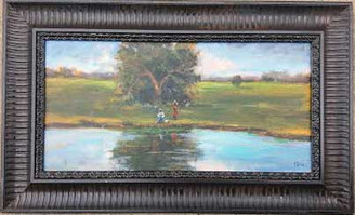 """Fishing with My Momma"",12x24, T. Ellis framed original painting value $4,750.00 http://www.tellisfineart.com/originals/"