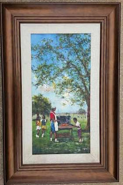 """Backyard BBQ"",12x24, T. Ellis framed original painting value $5,500.00 http://www.tellisfineart.com/originals/"