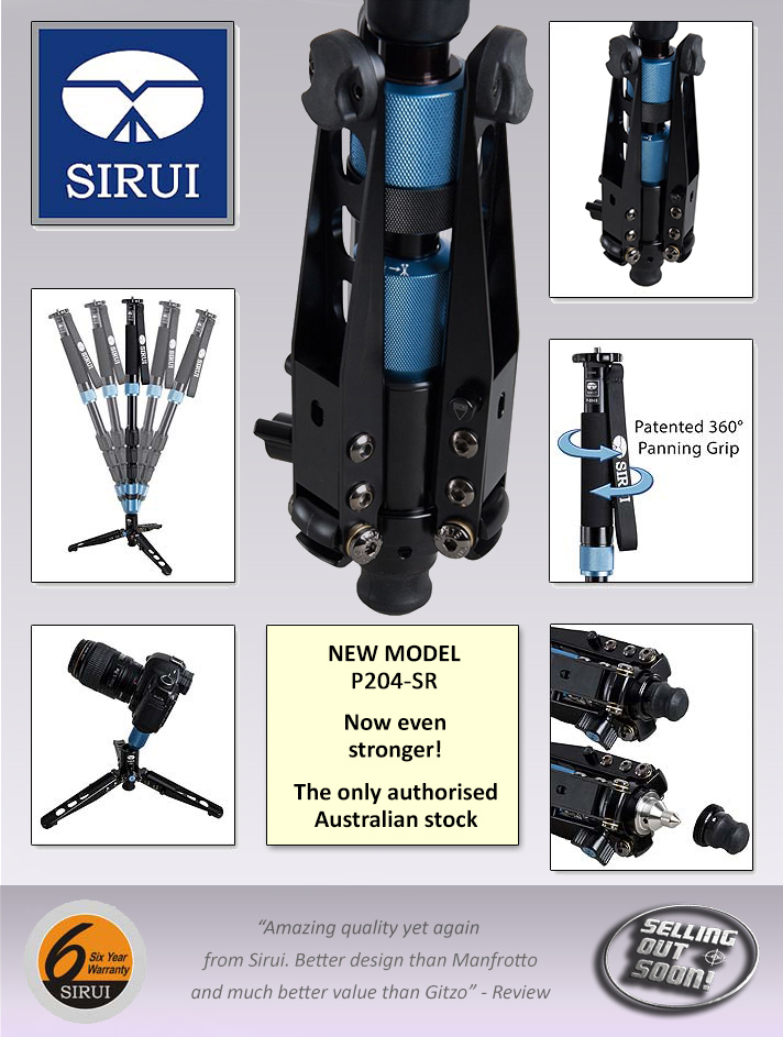 Selling Out Soon is Australia's only authorised dealer for the Sirui P204S and P204SR