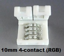 1CN-05-019: Flexible LED Ribbon Strip Splice Connector - 10mm, 4-contact plastic