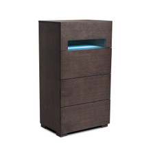Modrest Ceres Modern Brown Oak & Grey Chest w/ LED Light