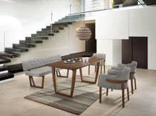 Modrest Jordan Modern Walnut & Grey Dining Sets
