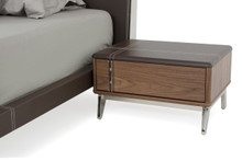 Nova Domus Ria Contemporary Brown Eco-Leather & Walnut Nightstand
