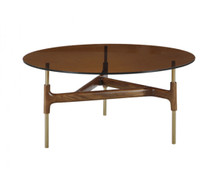 Modrest Lawson Modern Round Walnut & Glass Coffee Table