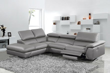 Divani Casa Maine Modern Dark Grey Eco-Leather Sectional Sofa Recliner