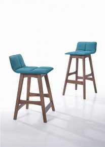 Candice - Modern Teal & Walnut Bar Stool