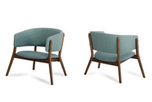 Dante - Modern Blue Fabric & Walnut Accent Chair