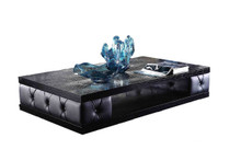 A&X Cecily Transitional Black Leatherette w/ Crystals Coffee Table