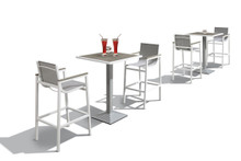 Gulf Outdoor White & Grey Bart Table Set