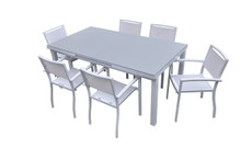 Tybee Outdoor White Extendable Dining Table Set