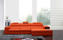Polaris Mini - Contemporary Bonded Leather Sectional Sofa Orange