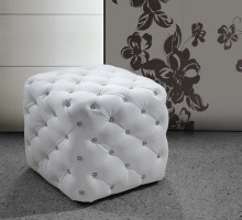 0419G Modern Eco-Leather Pouf With Tufted Acrylic Crystals