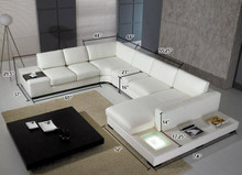 T35 Modern White Eco Leather Sectional Sofa With Light