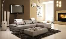 5005A Mini Modern Grey White Leather Sectional Sofa w Coffee Table