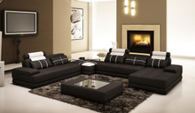 5005D Modern Black and White Leather Sectional Sofa w Coffee Table