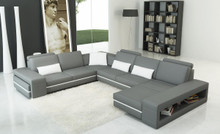 Divani Casa 5070 Modern Grey and White Leather Sectional Sofa