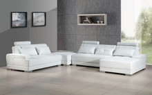 Phantom White Leather Sectional Sofa Ottoman Glass End Table