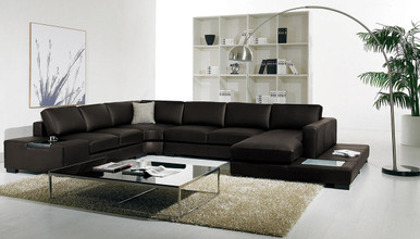 Divani Casa T35 Brown Leather Sectional Sofa With Lights ...