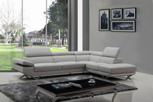 Divani Casa Quebec Modern Light Grey Eco-Leather Sectional Sofa