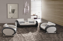 Divani Casa 816 Modern Black and White Leather Sofa Set