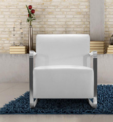 Divani Casa Bison Modern White Leather Lounge Chair